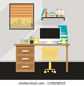 office In the house There is a desk design  vector illustration