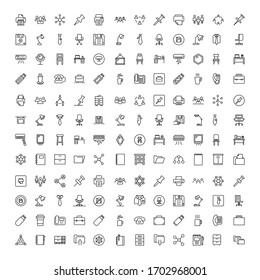 Office icon set. Collection of high quality outline web pictograms in modern flat style. Black office symbol for web design and mobile app on white background. Line logo EPS10