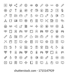 Office icon set. Collection of high-quality black outline logo for web site design and mobile apps. Vector illustration on a white background.