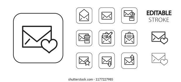 Office icon set. Letter, note, message, mail, email. Simple outline web application icons. Editable stroke. Vector illustration.