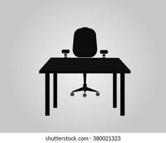 Office icon, table and chair