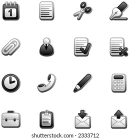 Office icons- black and white