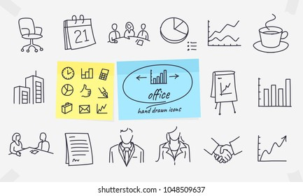 Office icons. Full vector drawings with editable strokes.