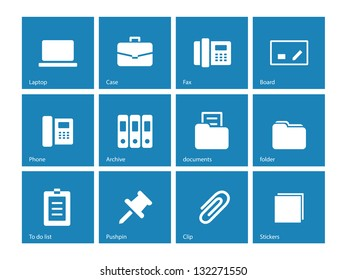 Office icons on blue background. Vector illustration.