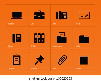 Office icons on orange background. Vector illustration.
