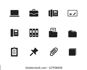 Office icons on white background. Vector illustration.