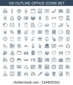 office icons. Set of 100 outline office icons included paper, resume, trash bin, printer, pen, object move on white background. Editable office icons for web, mobile and infographics.