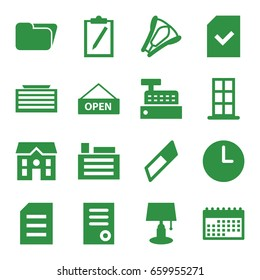 Office icons set. set of 16 office filled icons such as business center building, door, document, house, file, stapler, building, open plate, wall clock, calendar, table lamp