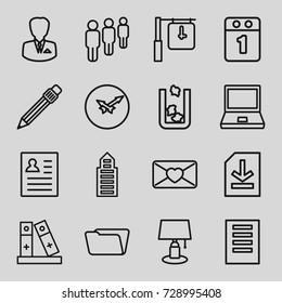 Office icons set. set of 16 office outline icons such as trash bin, building, folder, love letter, pen, binder, file, businessman, wall clock, 1st day calendar, clock, resume