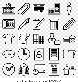 Office icons set. set of 25 office outline icons such as pencil, business center, man, trash bin, t-shirt, desk phone, pen, check list, document, notebook, clip