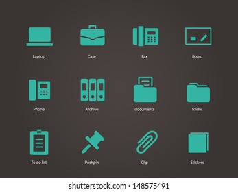 Office icons. Vector illustration.
