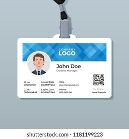 Office ID Card Template with Abstract Blue Background