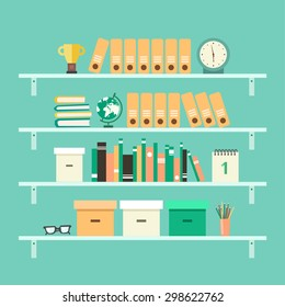 Office interior background with shelves: binders, books, pencils, glasses, globe, clock, folders, boxes, calendar, awards etc. Flat design colorful vector illustration