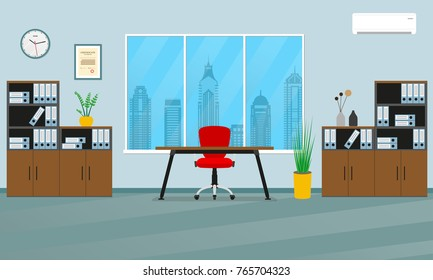 Office interior concept. Modern business workspace with office furniture: chair, desk, bookcase, clock on the wall and window. Vector illustration.