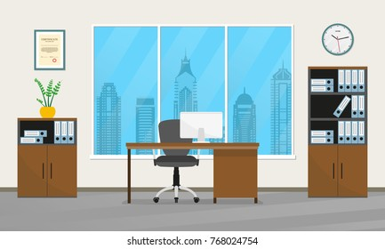 Office interior design. Modern business workspace with office furniture: chair, desk with computer, bookcase, clock on the wall and window. Vector illustration.