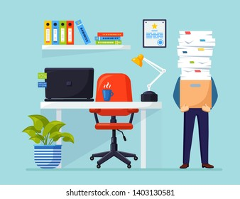 Office interior with desk, chair, computer. Pile of paper, busy businessman with stack of documents in carton, cardboard box. Paperwork. Bureaucracy concept. Stressed employee. Vector flat design