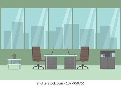 Office interior. Desk and two chairs. No people. Vector illustration.