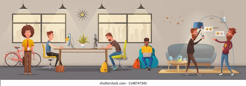 Office interior. Modern apartment, scandinavian or loft design. Cartoon vector illustration. Creative office and Co-working center. Comfortable workplace. Creative work