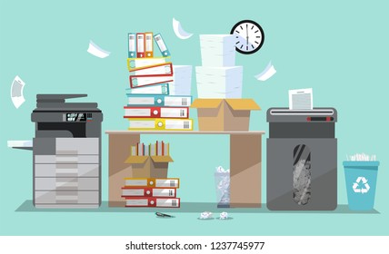 Office interior with multifunction printer scanner and shredder. Copier with flying paper. Copy machine with pile of documents, stack of papers in cardboard boxes. Flat cartoon vector illustration.