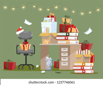 Office interior with pile of gifts on table with documents in folders and boxes. Piles of documents are near to mountains of gifts in holiday boxes. room is decorated with garland. Flat cartoon vector