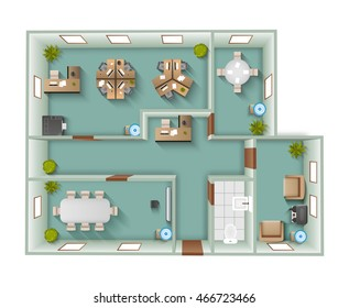Office interior project top view plan with reception and working space vector illustration