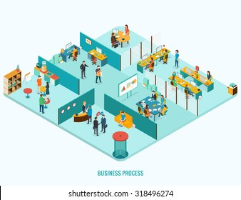Office Interior. Reception, meeting, open space, job interview concept. Isometric 3d vector illustrations