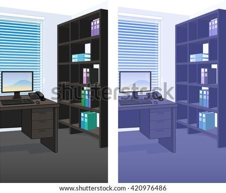 Office Interior Scene Detailed Vertical Background Stock Vector