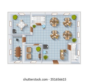Office interior top view blueprint template with conference room and restroom vector illustration
