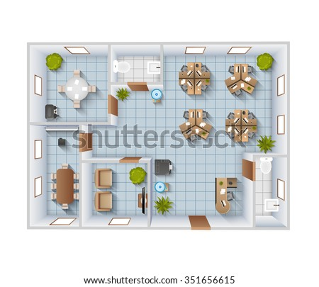 office interior top view blueprint template stock vector royalty