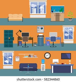Office interior. Vector illustration in a flat style. open space office building with workers.