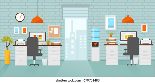 Office interior, workplace flat design concept