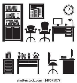 Office interior.Vector. EPS-10 (non transparent elements, non gradient).