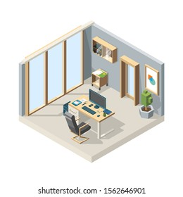 Office isometric. Business interior with furniture chair desk computer 3d vector low poly illustrations