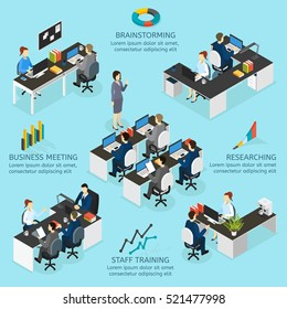 Office isometric infographics with brainstorming researching staff training business meetings 3d descriptions vector illustration