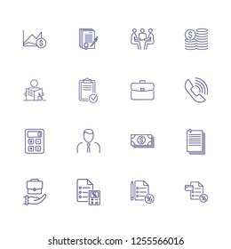 Office job icon set. Set of line icons on white background. Calculator, manager, call, money. Banking concept. Vector illustration can be used for topics like banking, investment, profit