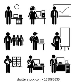 Office Jobs Occupations Careers - Staff Employee, Help Desk Support, Analyst, Runner, Manager, Marketing, Auditor, Secretary, CEO - Stick Figure Pictogram