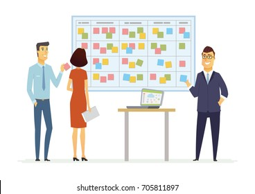 Office Kanban planning system - vector cartoon people characters illustration. Business scene with senior, young colleagues. Office workers at the board with japanese business project management tool.