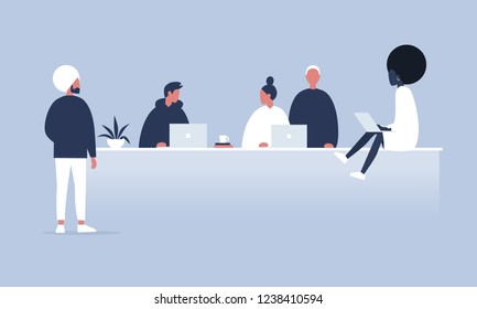 Office life. Diversity collective. Startup. Millennials at work. Generation z. Technologies. Project management. Flat editable vector illustration, clip art