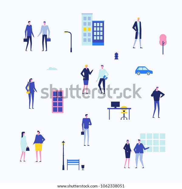 Office life - flat design style set of isolated elements on white background. Cute cartoon characters in smart clothes. Buildings, lanterns, car, tree, bench, workplace with a computer, windows