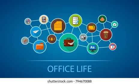 Office life flat icon concept. Vector illustration. Element template for design.