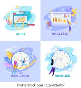 Office Life Flat Vector Illustrations Collection. Audit, Analysis, Time Management, Deadline Concepts with Lettering. Office Workers, Clocks, Diagram. Accounting, Bookkeeping Posters Set