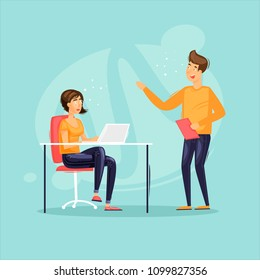Office life, a guy communicating with a girl, a secretary. Meeting, teamwork, business. Flat design vector illustration.