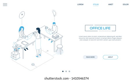 Office life - line design style isometric web banner on white background with copy space for text. A header with male, female colleagues, business team working at desks with laptops. Workflow concept