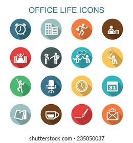 office life long shadow icons, flat vector symbols