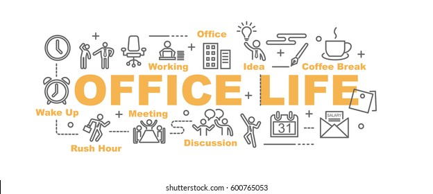 office life vector banner design concept, flat style with thin line art icons on white background