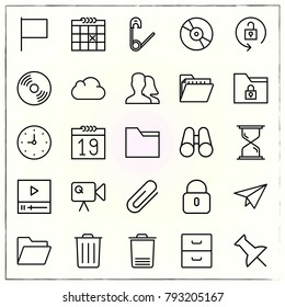 Office line icons set attachment and hourglass