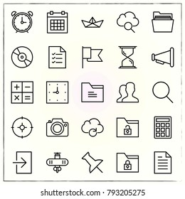 Office line icons set boat and users