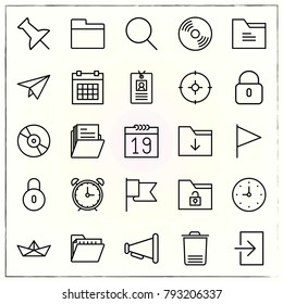 Office line icons set clock and calendar