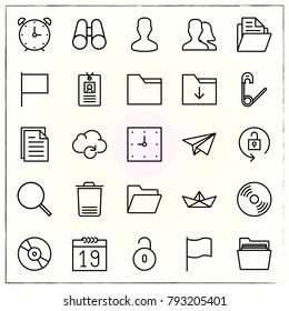 Office line icons set compact and trash