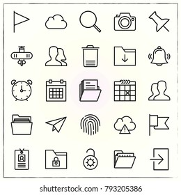 Office line icons set flag and push